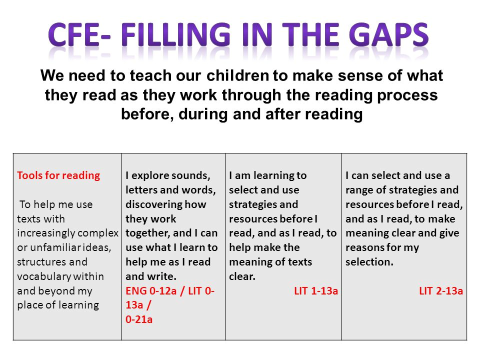 CfE- Filling in the Gaps