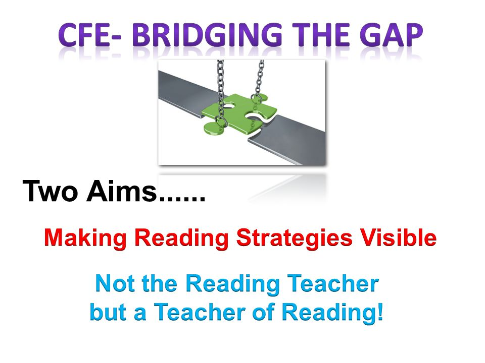 CfE- bridging the gap Two Aims...... Making Reading Strategies Visible