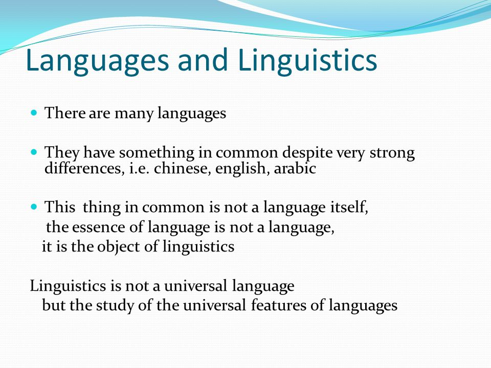 Languages and Linguistics