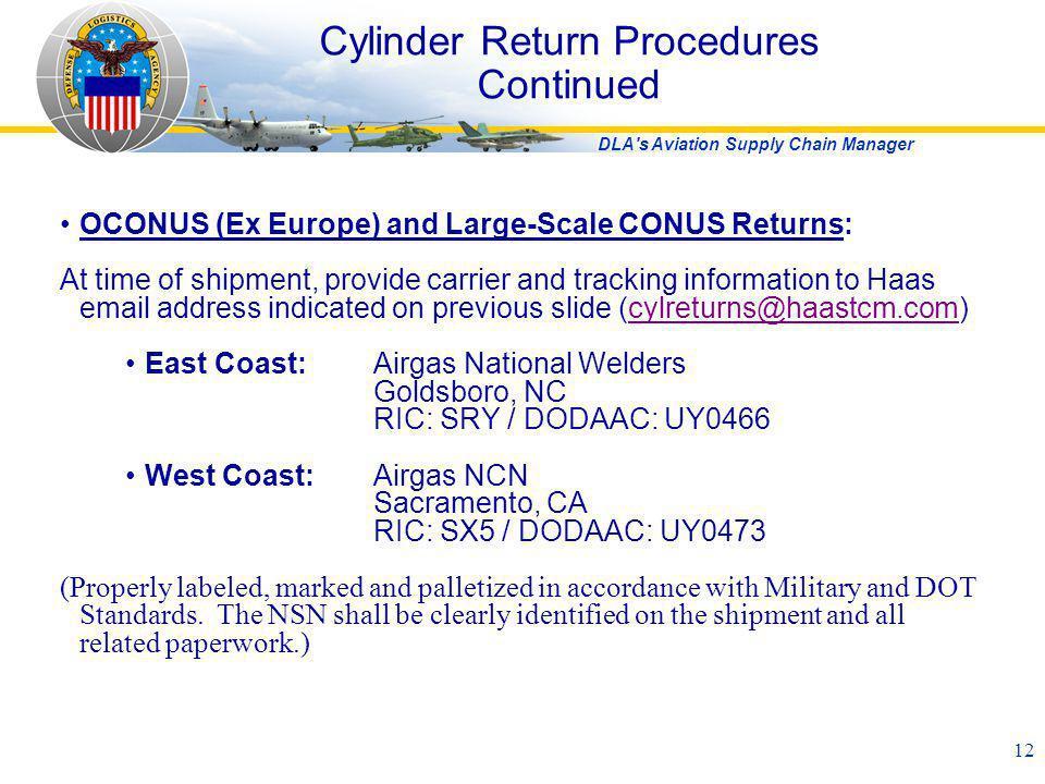Cylinder Return Procedures Continued