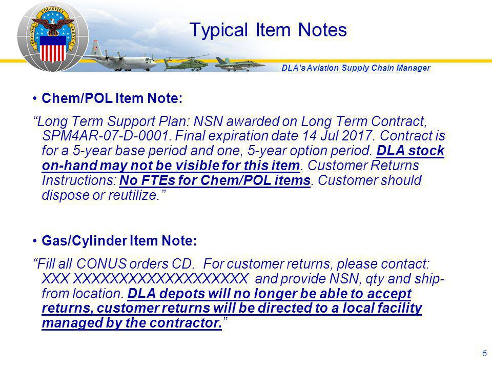 Typical Item Notes Chem/POL Item Note: