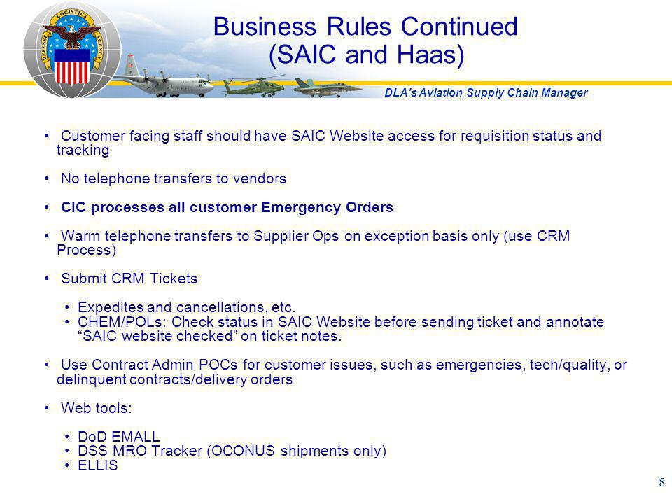 Business Rules Continued (SAIC and Haas)