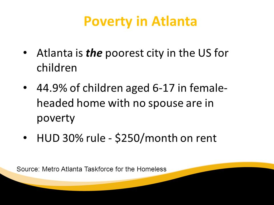 Poverty in Atlanta Atlanta is the poorest city in the US for children