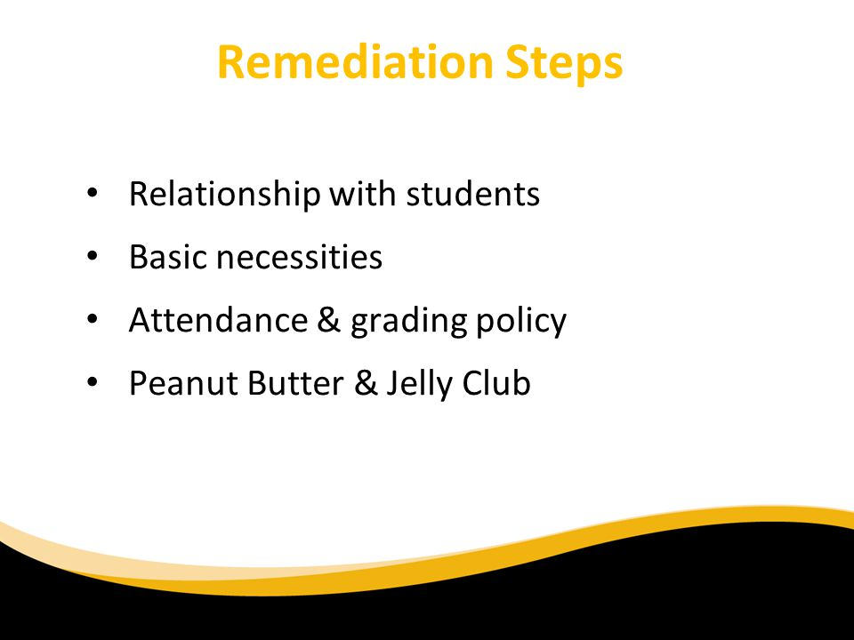 Remediation Steps Relationship with students Basic necessities