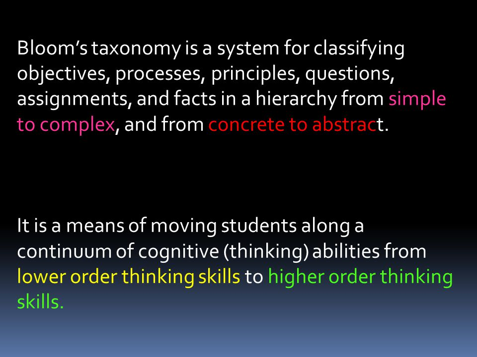 Bloom's taxonomy is a system for classifying objectives, processes, principles, questions, assignments, and facts in a hierarchy from simple to complex, and from concrete to abstract.
