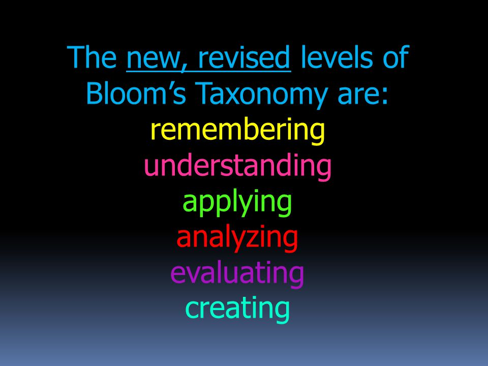 The new, revised levels of Bloom's Taxonomy are: