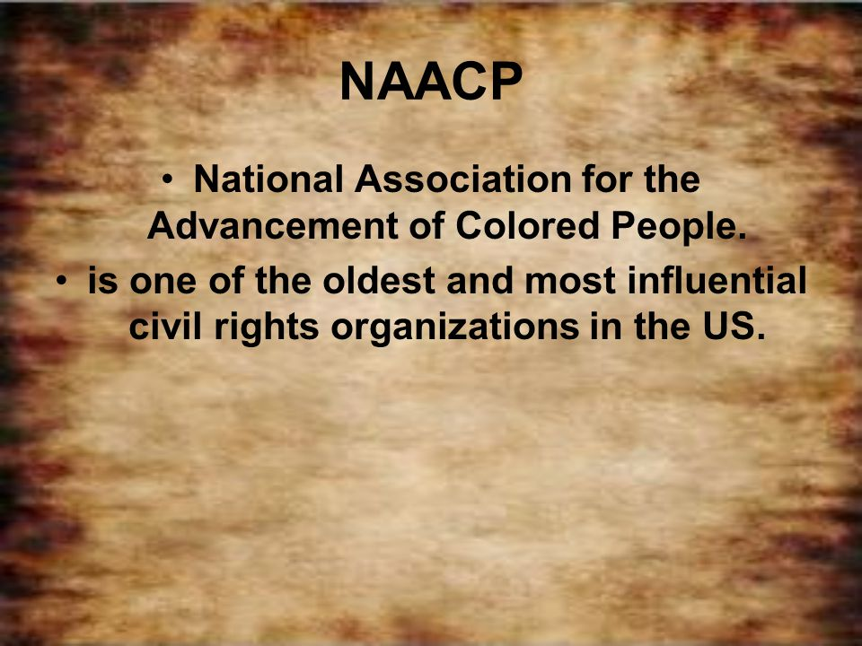 National Association for the Advancement of Colored People.