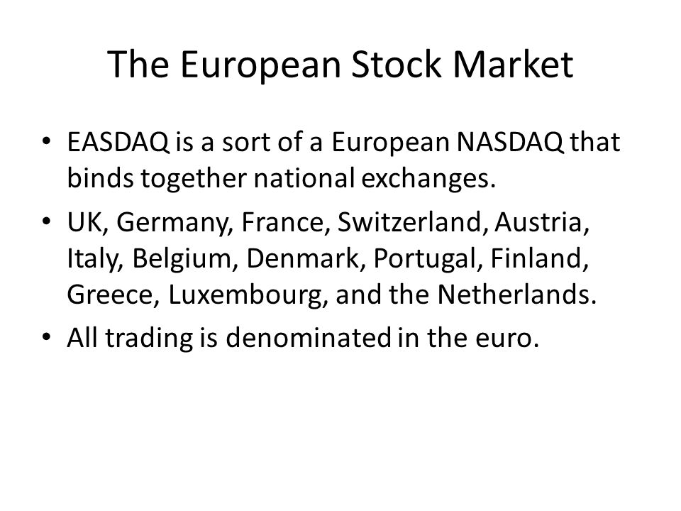 The European Stock Market