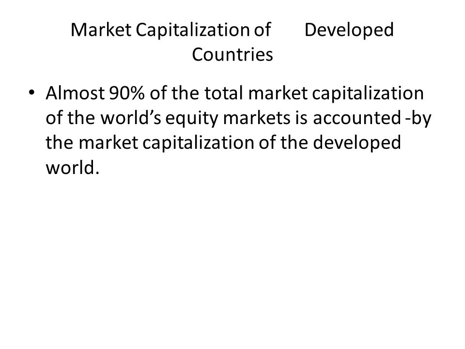 Market Capitalization of Developed Countries