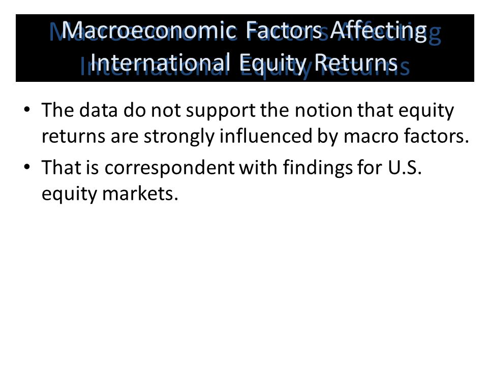 Macroeconomic Factors Affecting International Equity Returns