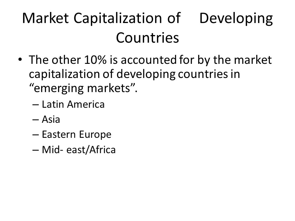 Market Capitalization of Developing Countries