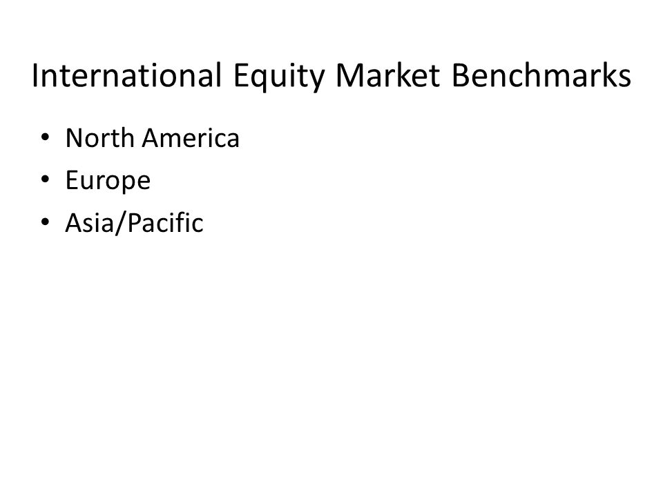 International Equity Market Benchmarks