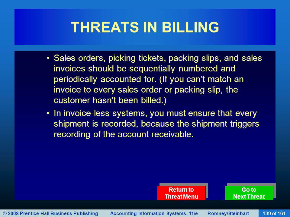 THREATS IN BILLING