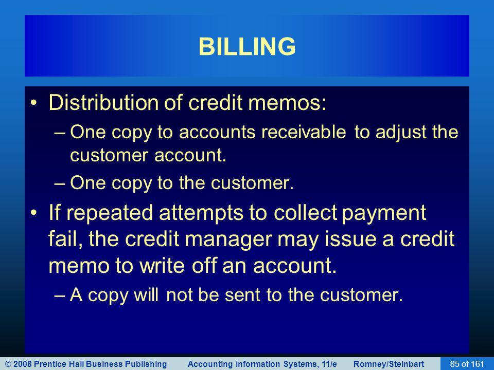 BILLING Distribution of credit memos: