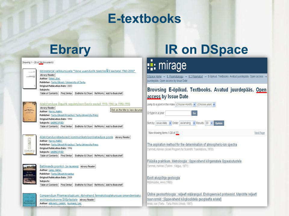 E-textbooks Ebrary IR on DSpace