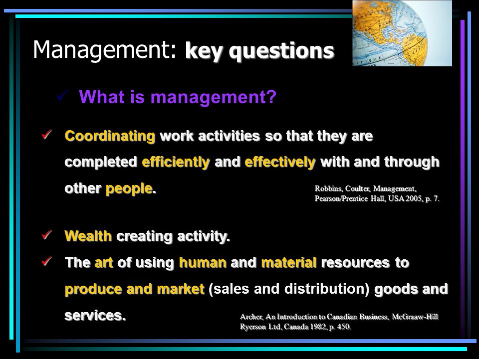Management: key questions