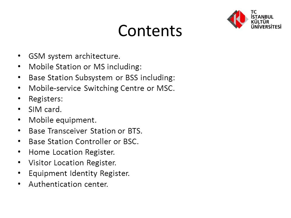 Contents GSM system architecture. Mobile Station or MS including: