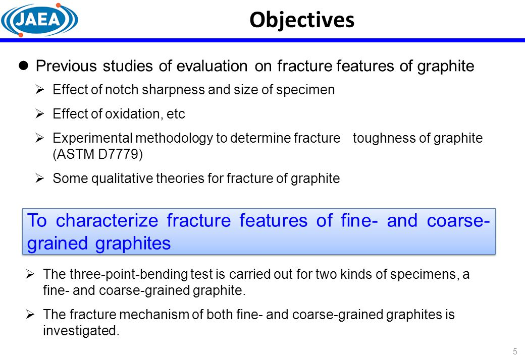 Objectives Previous studies of evaluation on fracture features of graphite. Effect of notch sharpness and size of specimen.