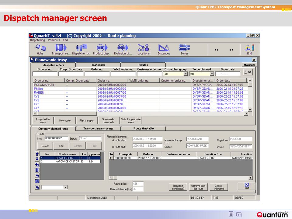 Dispatch manager screen