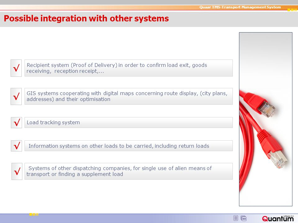 Possible integration with other systems