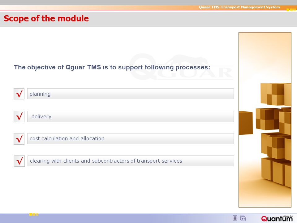 Scope of the module Scope of the module. The objective of Qguar TMS is to support following processes: