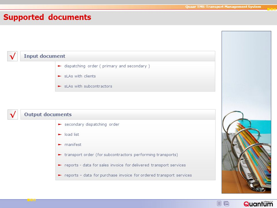 Supported documents √ √ Input document