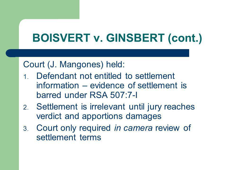 BOISVERT v. GINSBERT (cont.)