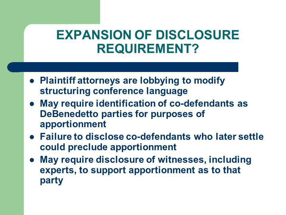 EXPANSION OF DISCLOSURE REQUIREMENT