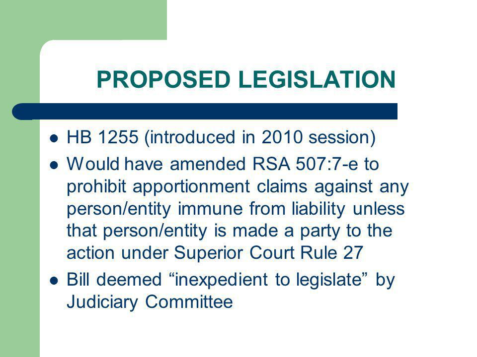 PROPOSED LEGISLATION HB 1255 (introduced in 2010 session)