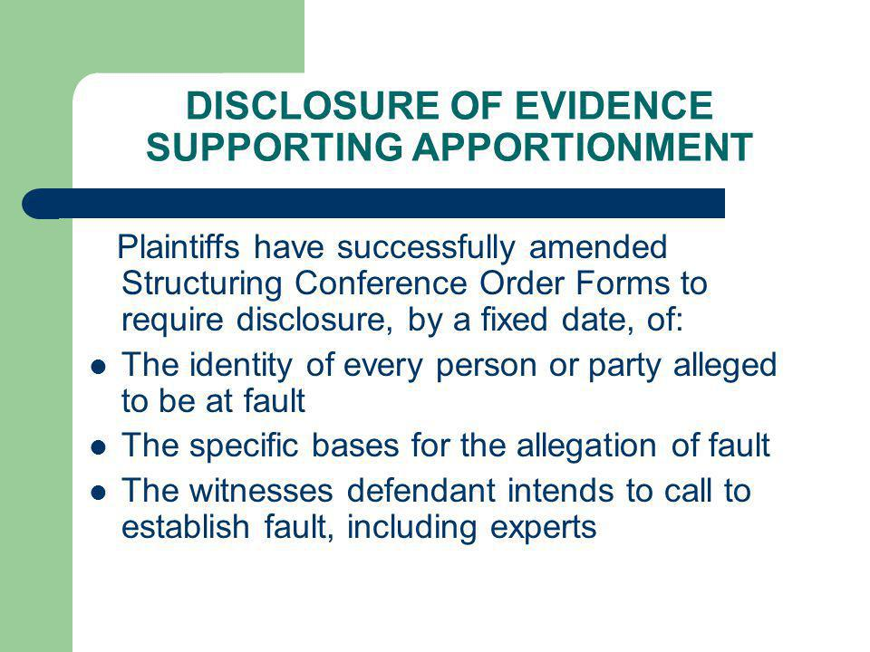 DISCLOSURE OF EVIDENCE SUPPORTING APPORTIONMENT