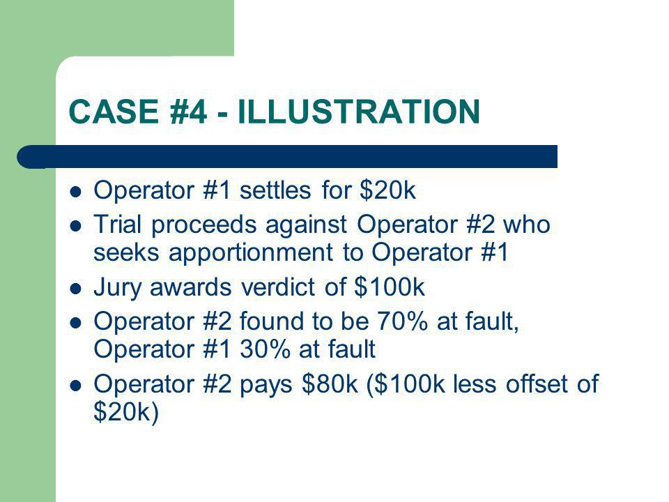 CASE #4 - ILLUSTRATION Operator #1 settles for $20k