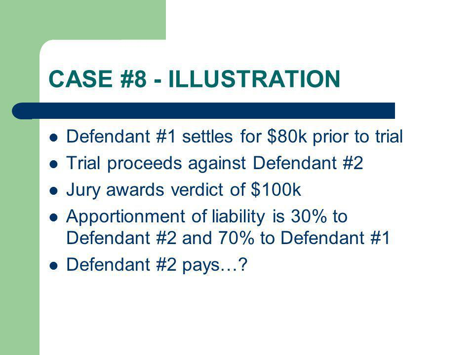 CASE #8 - ILLUSTRATION Defendant #1 settles for $80k prior to trial