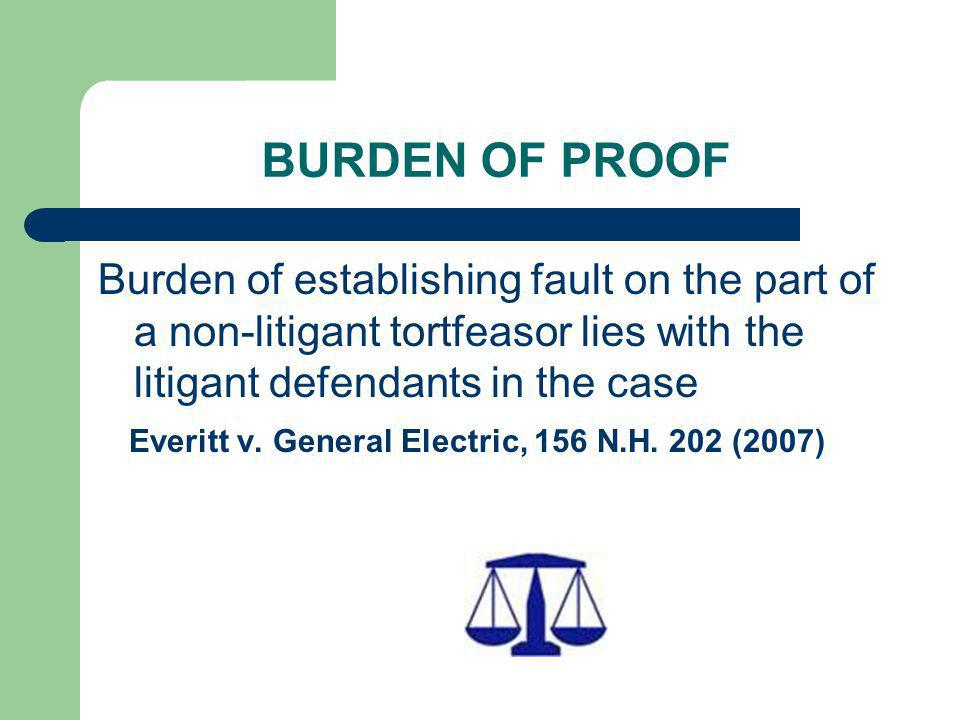 BURDEN OF PROOF Burden of establishing fault on the part of a non-litigant tortfeasor lies with the litigant defendants in the case.