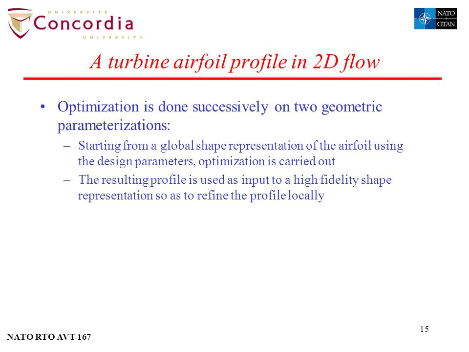 A turbine airfoil profile in 2D flow