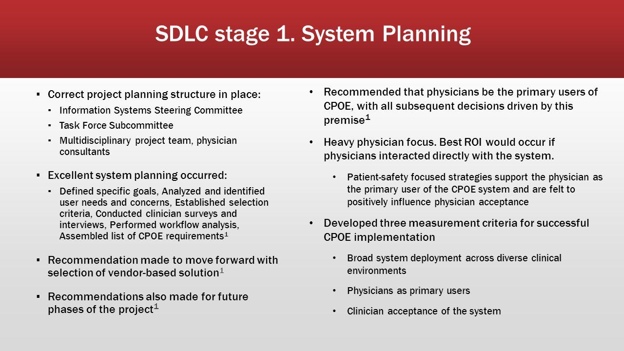 SDLC stage 1. System Planning