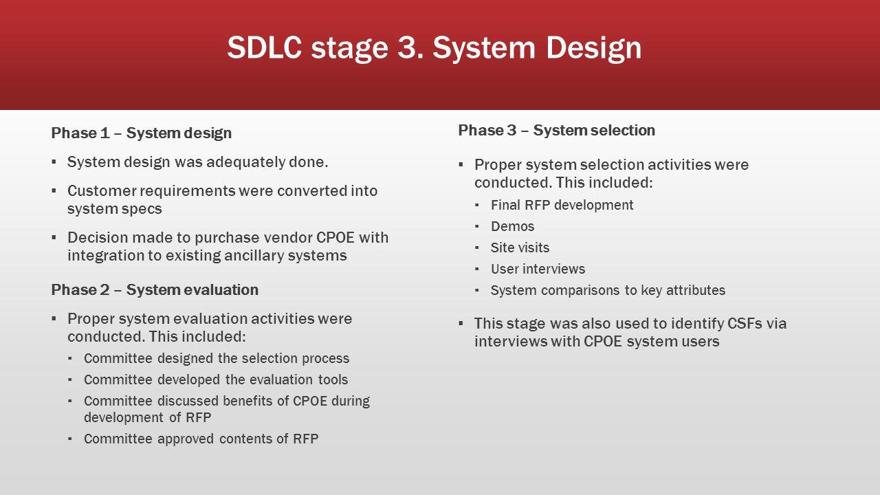 SDLC stage 3. System Design