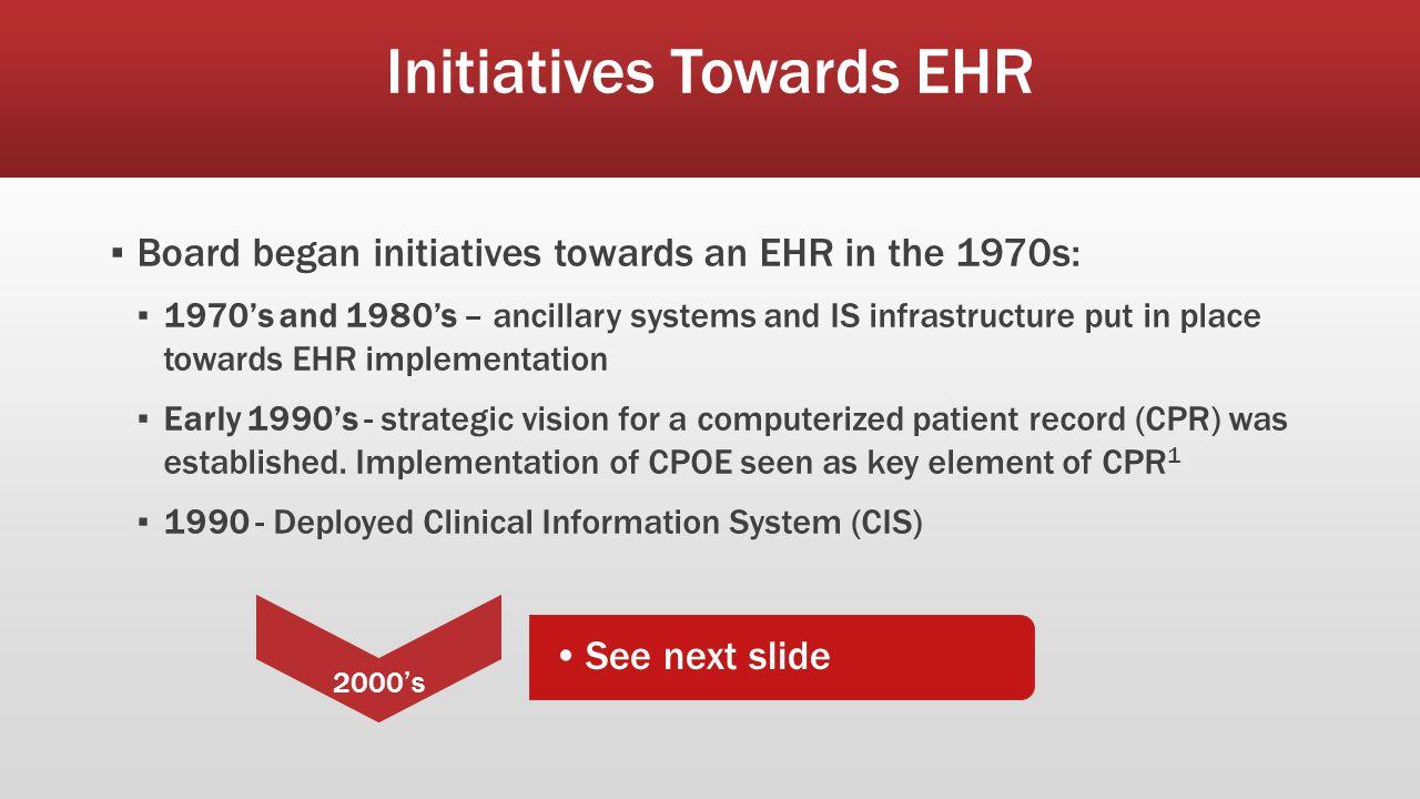 Initiatives Towards EHR