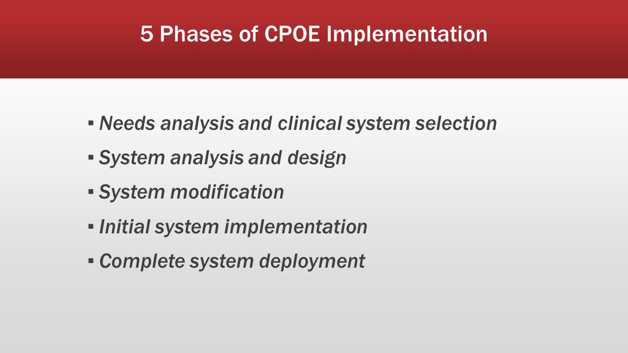 cpoe case study Prior to the cpoe implementation at emory, physicians were writing out order sheets by hand and submitting a verbal request with a nurse everything from placing stat orders to sending medication forms to the pharmacy all went by the unit clerk.