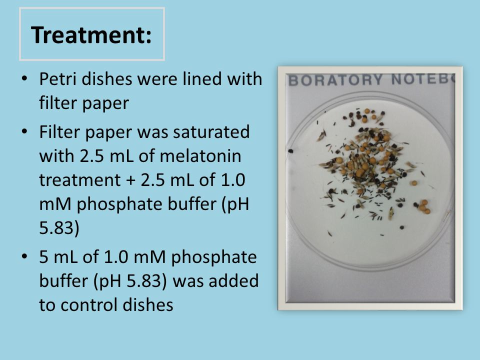 Treatment: Petri dishes were lined with filter paper