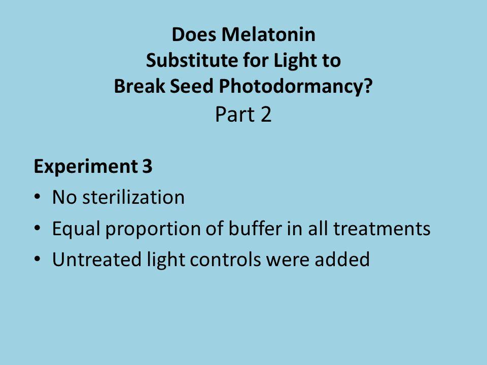 Does Melatonin Substitute for Light to Break Seed Photodormancy Part 2