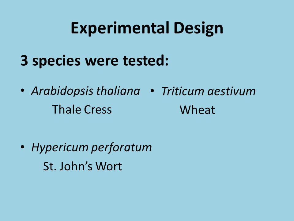 Experimental Design 3 species were tested: Arabidopsis thaliana