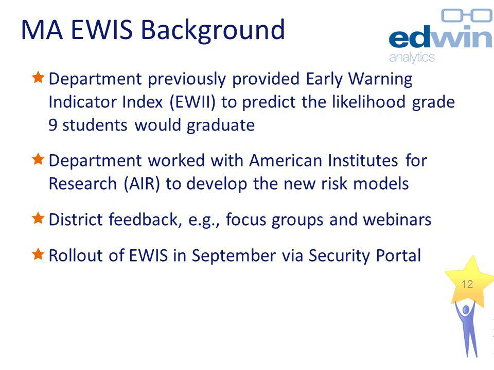 MA EWIS Background Department previously provided Early Warning Indicator Index (EWII) to predict the likelihood grade 9 students would graduate.