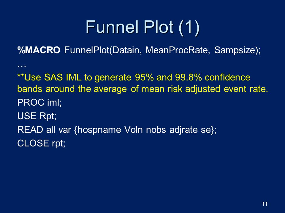 Funnel Plot (1) %MACRO FunnelPlot(Datain, MeanProcRate, Sampsize); …