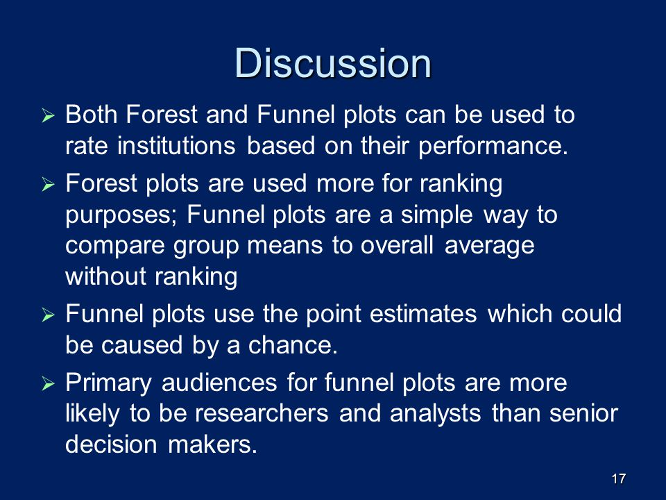Discussion Both Forest and Funnel plots can be used to rate institutions based on their performance.