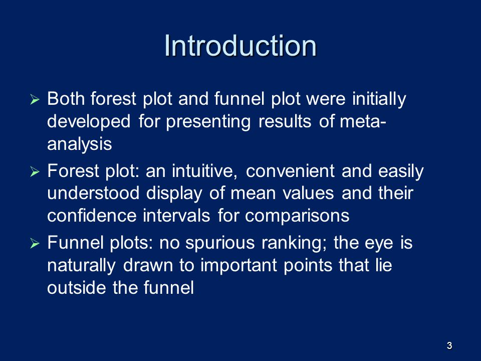 Introduction Both forest plot and funnel plot were initially developed for presenting results of meta-analysis.