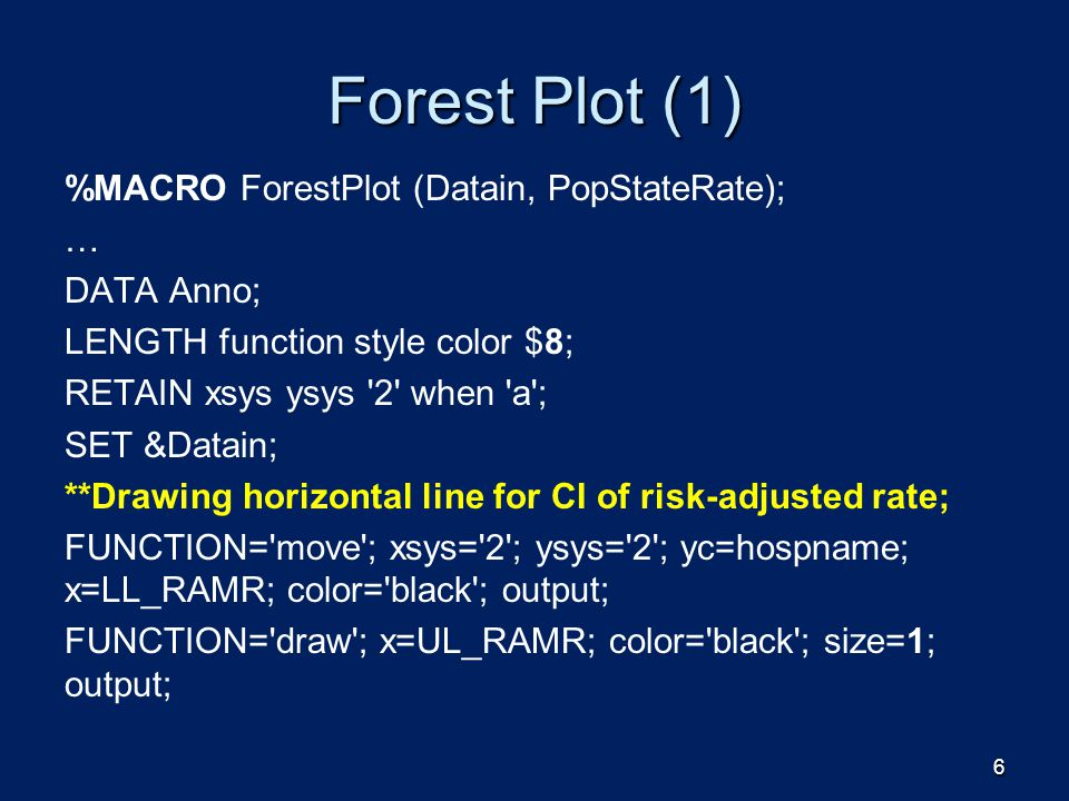 Forest Plot (1) %MACRO ForestPlot (Datain, PopStateRate); … DATA Anno;