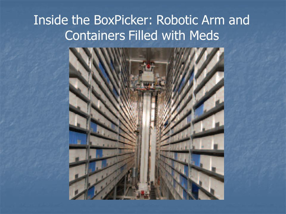 Inside the BoxPicker: Robotic Arm and Containers Filled with Meds