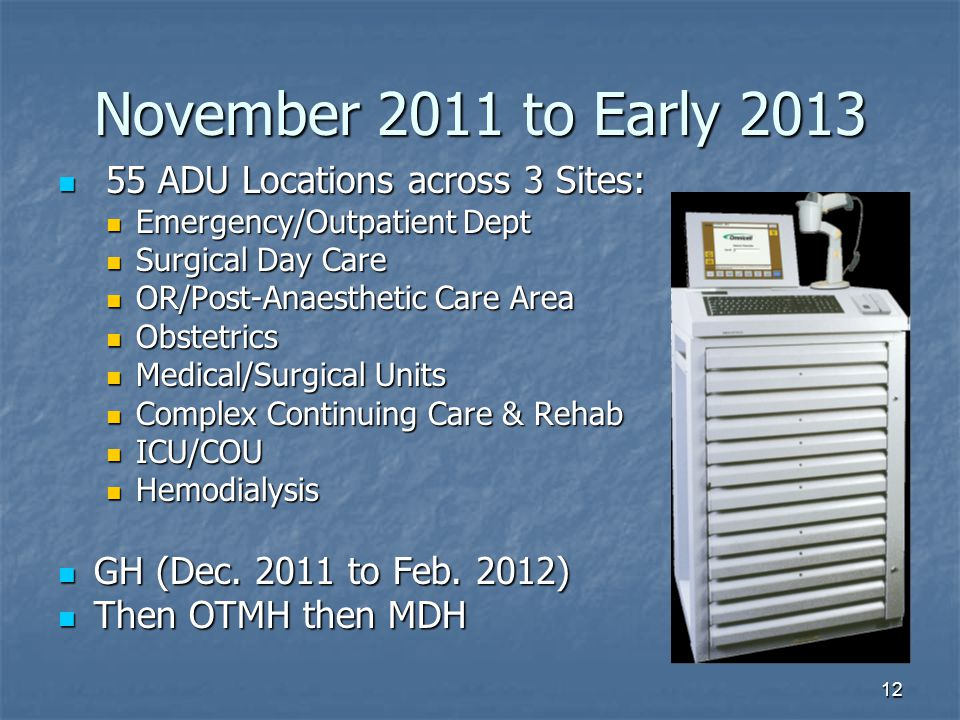 November 2011 to Early 2013 55 ADU Locations across 3 Sites:
