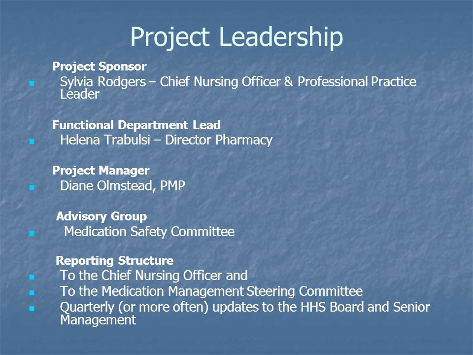 Project Leadership Project Sponsor. Sylvia Rodgers – Chief Nursing Officer & Professional Practice Leader.