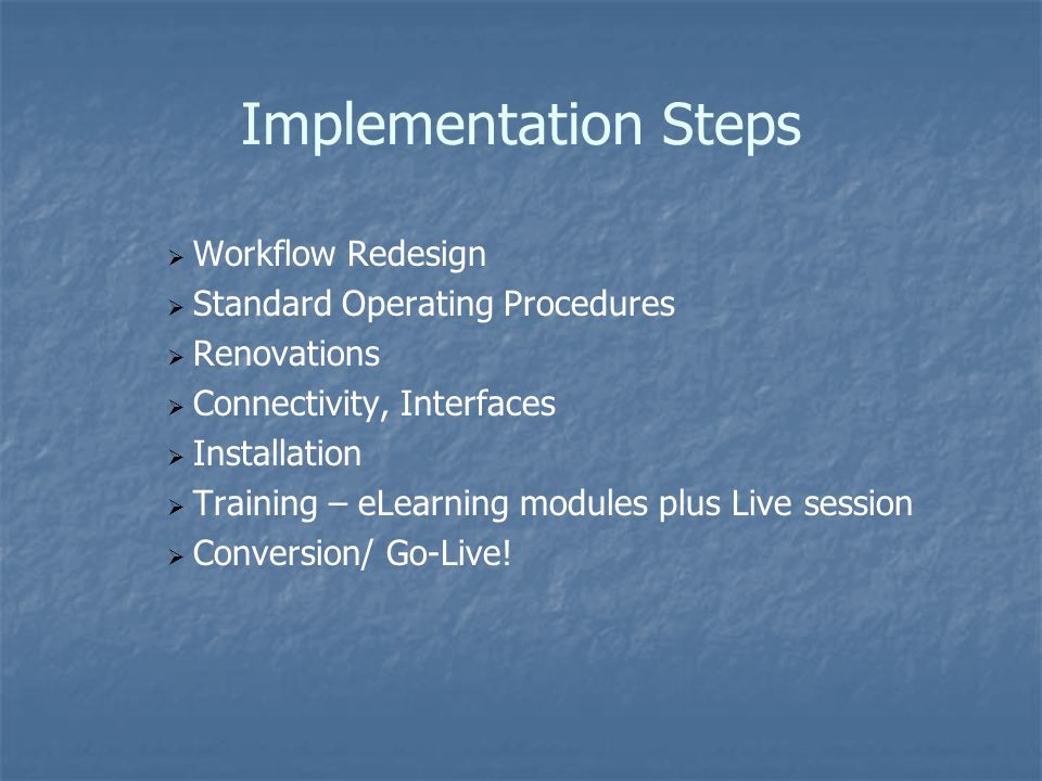Implementation Steps Workflow Redesign Standard Operating Procedures